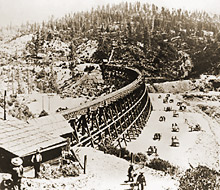 Building early railroad across a mountain pass